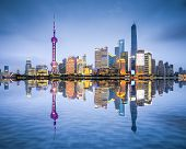 Shanghai, China city skyline of the Pudong District. poster