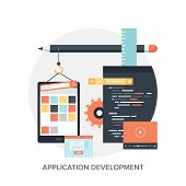 Abstract flat vector illustration of application development concepts. Design elements for mobile and web applications. poster