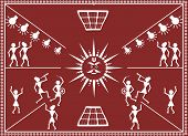 Sun god is worshiped in traditional way for solar energy. The style of drawing is 'Warli Painting', a tribal art form  from Maharashtra's tribal region. poster