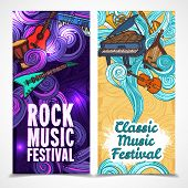 Classic and rock music festival vertical banners set with instruments isolated vector illustration poster