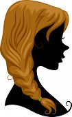 Illustration Featuring the Silhouette of a Girl Wearing a Braid poster