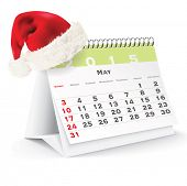 May 2015 desk calendar with Christmas hat - vector illustration poster