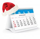January 2015 desk calendar with Christmas hat - vector illustration poster