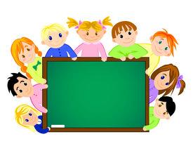 Childrens near the school board