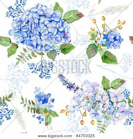 Seamless Pattern. Vector Watercolor Blue Hydrangea, Lavender.
