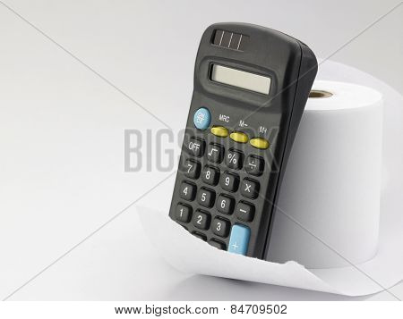 calculator on the adding tape machine