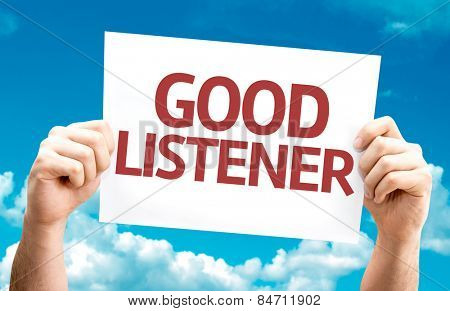 Good Listener card with sky background