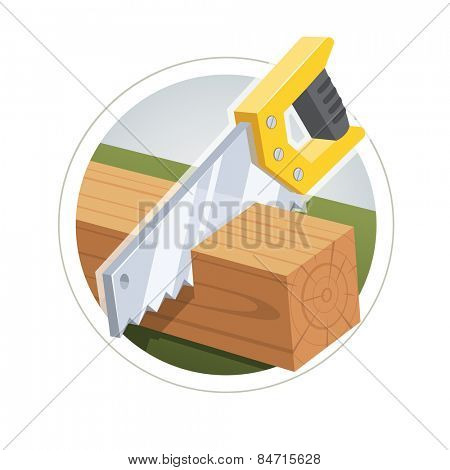Hacksaw cut board. Vector illustration. Isolated on white background