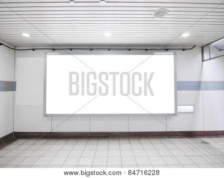 Blank billboard in underground