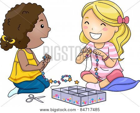Illustration of Little Girls Making Accessories With Colorful Beads