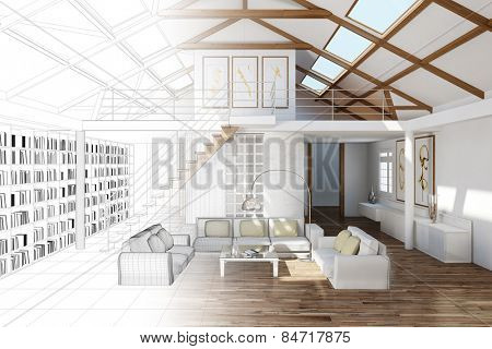 Room planning for living room in the top floor of a house (3D Rendering)