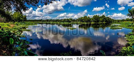 A High Resolution, Colorful, Panoramic Shot of Beautiful 40-Acre Lake, Texas