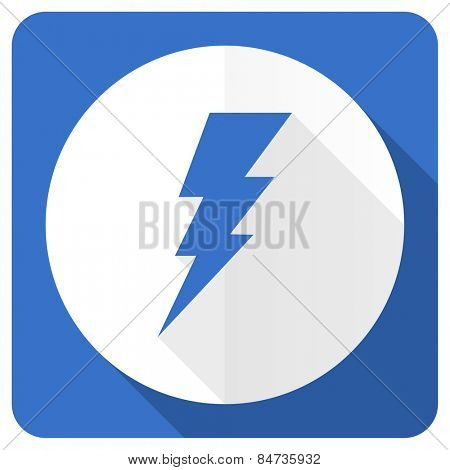 bolt blue flat icon flash sign