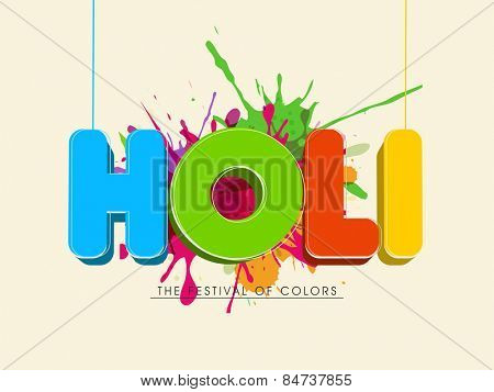 Indian Festival of Colors celebration poster or banner design with glossy 3D text Holi on splash background..