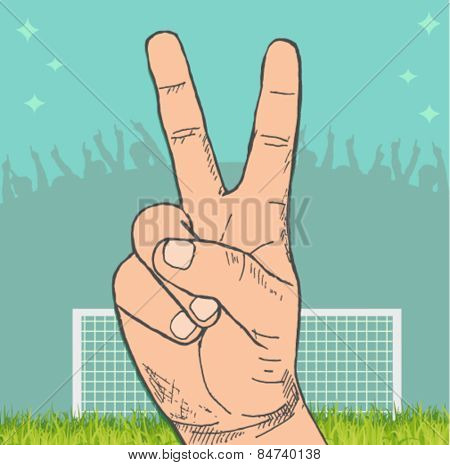 victory sign with a stadium in the background