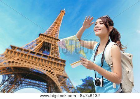 Happy Travel Woman In Paris