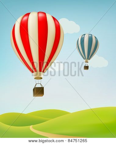 Retro Background With Colorful Air Balloons And Green Land. Vector.