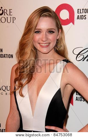 LOS ANGELES - FEB 22:  Alyssa Sutherland at the Elton John Oscar Party 2015 at the City Of West Hollywood Park on February 22, 2015 in West Hollywood, CA