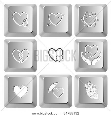 Heart shape set. Vector set computer keys.