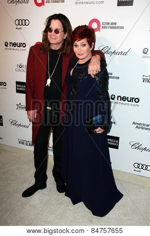 LOS ANGELES - FEB 22:  Ozzy Osbourne, Sharon Osbourne at the Elton John Oscar Party 2015 at the City Of West Hollywood Park on February 22, 2015 in West Hollywood, CA