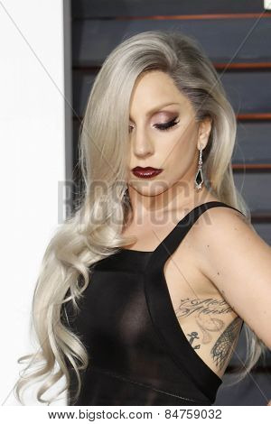 LOS ANGELES - FEB 22:  Lady Gaga at the Vanity Fair Oscar Party 2015 at the Wallis Annenberg Center for the Performing Arts on February 22, 2015 in Beverly Hills, CA