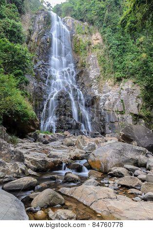 Tropical Rainforest Waterfall In Thailand