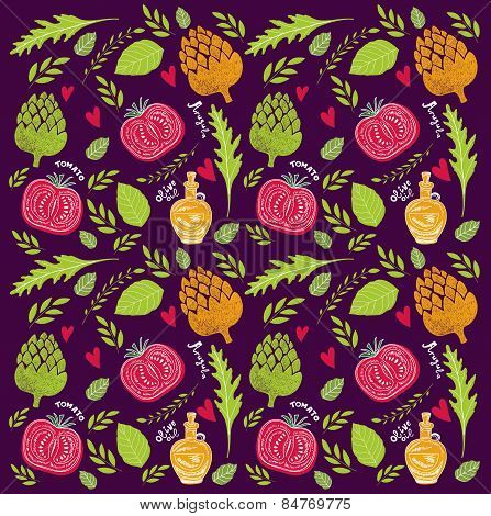 Vector pattern with vegetables and herbs