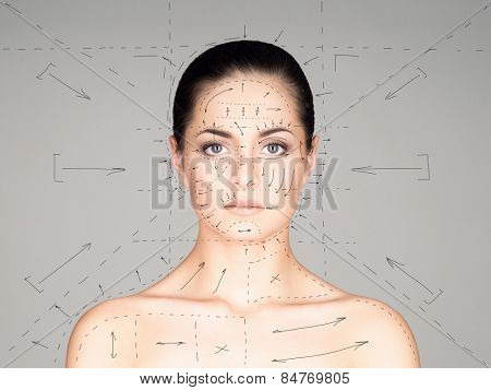 Close-up portrait of young, beautiful and healthy woman ready for plastic surgery treatment (collage with drawing arrows)