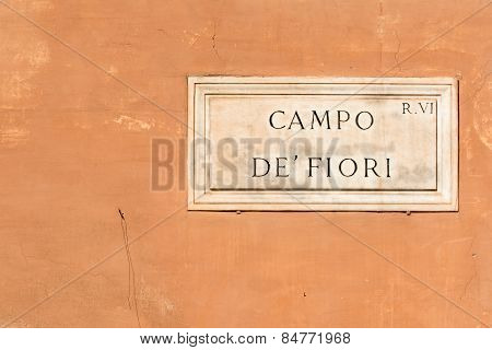 Campo de Fiori sign of famous street market in Rome poster