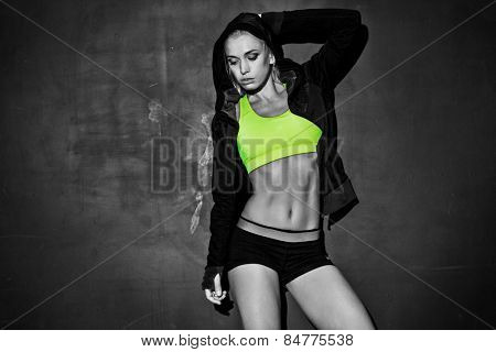 fitness lifestyle portrait, caucasian model, trained body