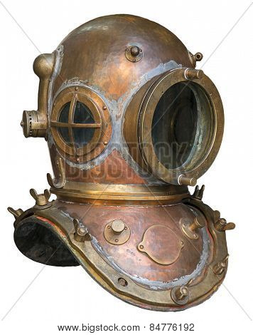 Old antique metal scuba helmet isolated on white background