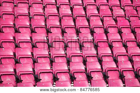 Pink Spectators seats at a stadium
