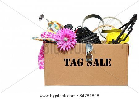 A large cardboard box filled with Yard Sale or Tag Sale items to be sold at a discount in order to make room and make some money at the same time. Yard Sales are an important part of our economy poster