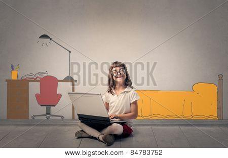 Young nerd girl in her room