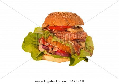 All dressed hamburger isolated on white background.