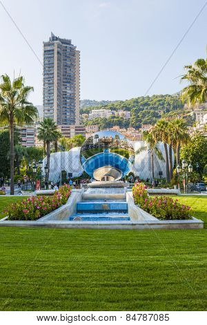 MONTE CARLO, MONACO - OCTOBER 3, 2014: View of Monte Carlo, Monaco with Sky Mirror sculpture by Anish Kapoor reflecting casino building