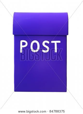 Blue mailbox isolated on a white background