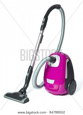 Pink Vacuum Cleaner isolated on white background