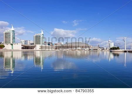 Lisbon, Portugal - February 01, 2015: Portuguese Pavilion, Atlantico / MEO Arena, Sao Gabriel / Rafael Towers across the Olivais Dock; Vasco da Gama Tower/ Myriad Hotel on the right. Park of Nations