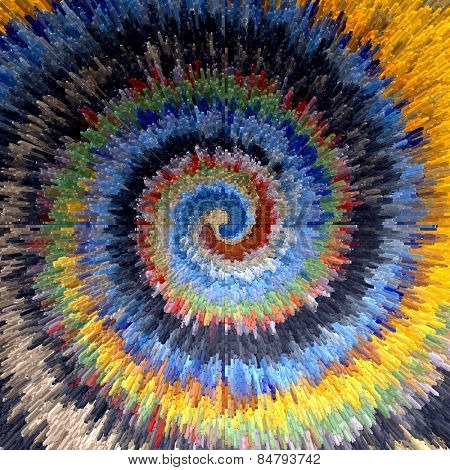 Abstract multicolor textured background. Spiral movement. Illustration.