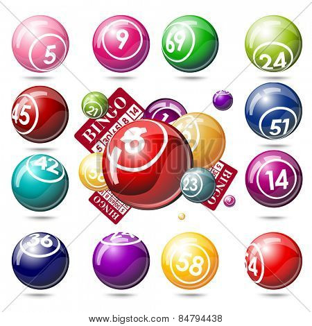 Bingo or lottery balls and cards. Isolated on white background