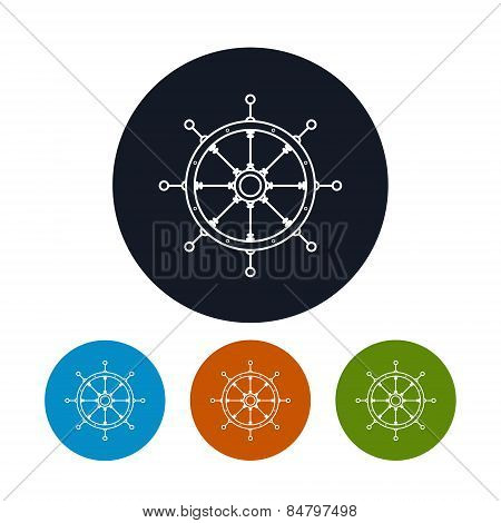Icon  Ship's Wheel, Vector Illustration