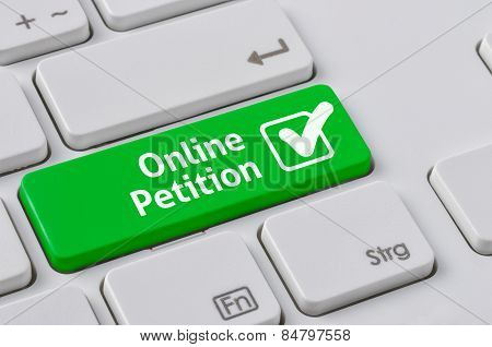 A Keyboard With A Green Button - Online Petition
