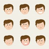 Set of different facial expressions with faces of cute boy cartoon. poster