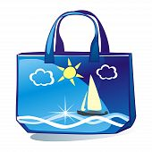 fully editable vector illustration of isolated colored bag poster