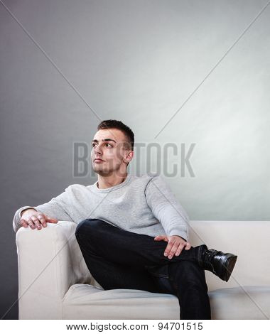 Fraught, Bored Man Husband Waiting For Woman Wife.