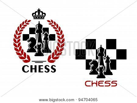Chess emblems with chessmen and chessboard