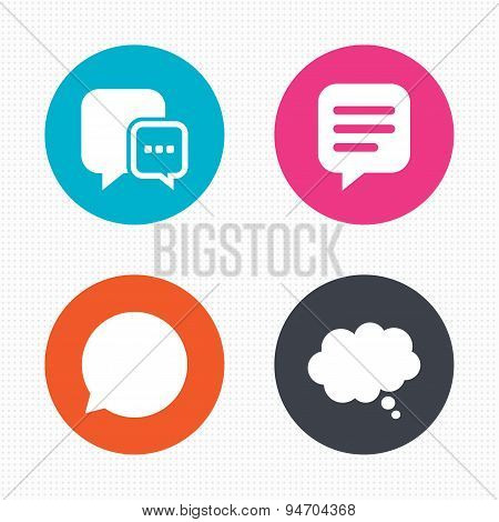 Chat icons. Comic speech bubble signs. Think.