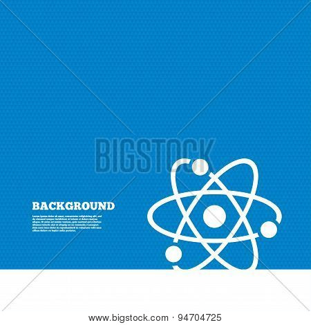Background with seamless pattern. Atom sign icon. Atom part symbol. Triangles texture. Vector poster