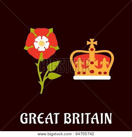 National heraldry symbols of Great Britain in flat style with Tudor rose and coronation st Edwards crown on burgundy background with caption poster
